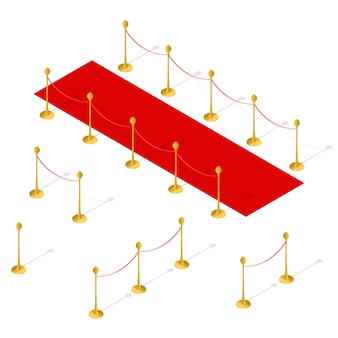 Red carpet and rope barrier set isometric view.