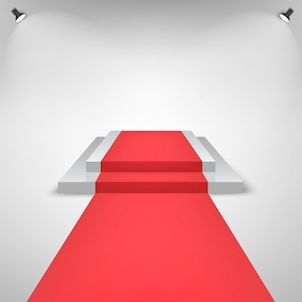 Red carpet on a stage podium for award with lights effect. white stage with stairs. pedestal for winners.