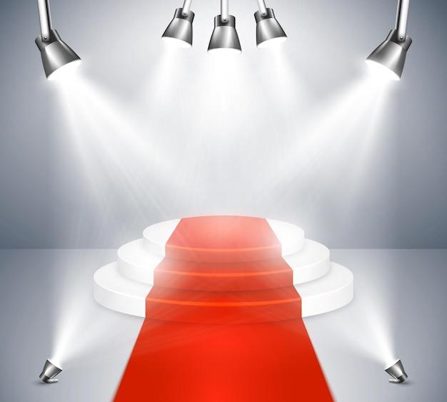 Сцена красной ковровой дорожки с прожекторами. подиум с красной ковровой дорожкой. прожектор сцены и награды световой прожектор. иллюстрация