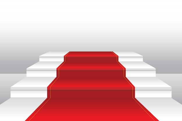 Red carpet on staircase realistic illustration