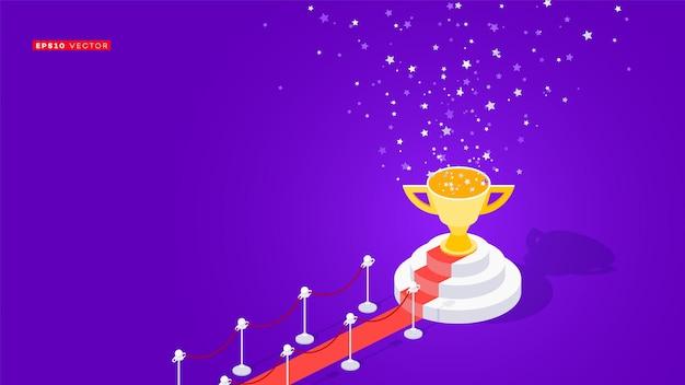 受賞者の表彰台へのレッドカーペット。概念的な等角図