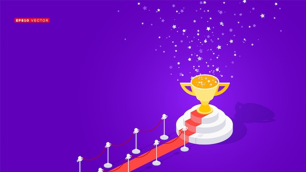 Red carpet to winners podium. conceptual isometric   illustration