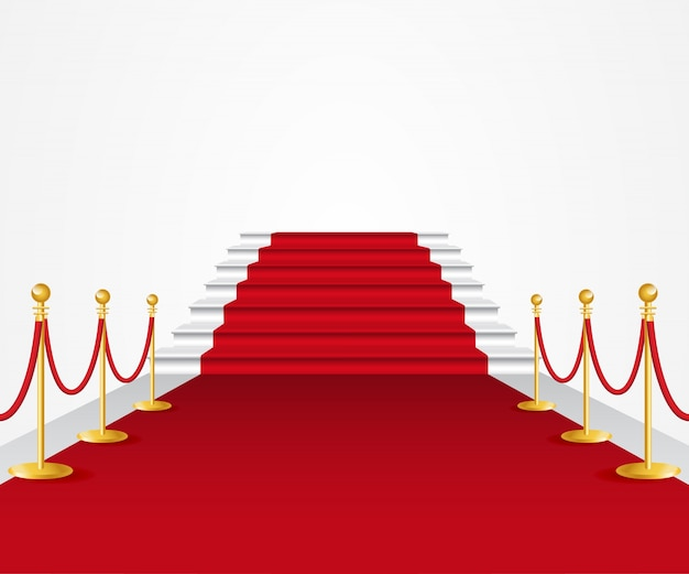 Red carpet with rope railing