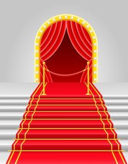 Красный ковер с турникетом векторная иллюстрация