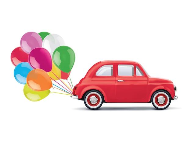 風船の束と赤い漫画の車