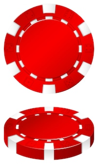 Red casino chip on white