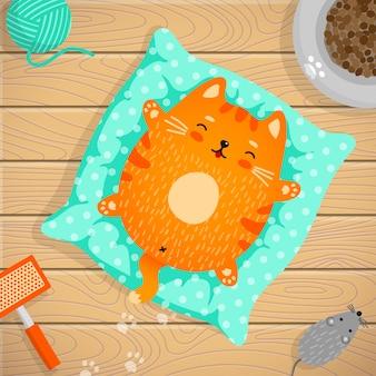Рыжий кот спит на подушке дома. вокруг товары для ухода за домашними животными - игрушечный мяч, мышка, расческа, кормушка с кормом. иллюстрация в плоском стиле