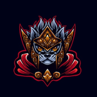 빨간 고양이 전사 로고 마스코트 일러스트 레이터