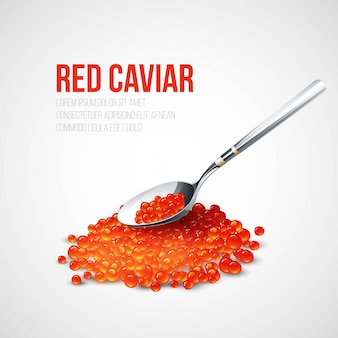 Red caviar in a spoon over blue background.  illustration