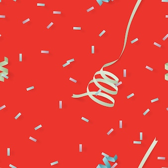 Red celebration seamless background with paper ribbon and confetti on red background