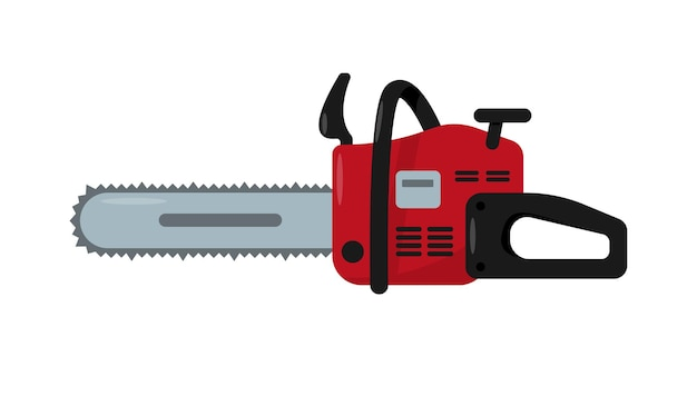 Red chainsaw icon electric or gasoline work tool or equipment