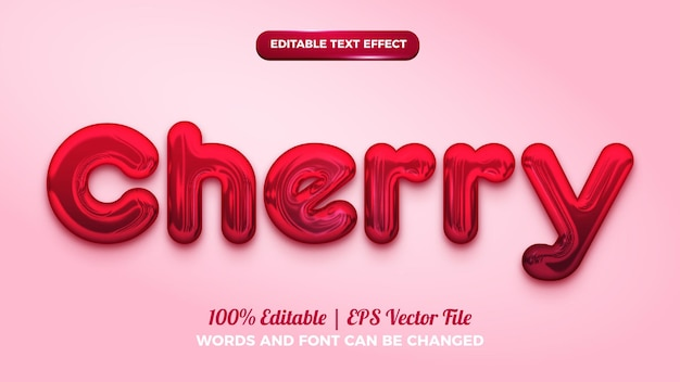 Red cherry 3d editable text effect