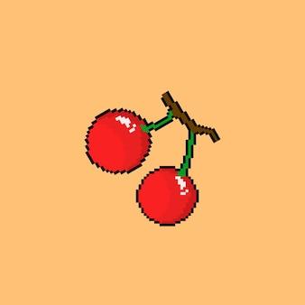 Красный фрукт вишни в стиле пиксель-арт