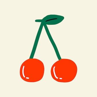 Vettore dell'elemento del collage dell'autoadesivo della ciliegia rossa
