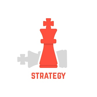 Red chess king with fallen figure. concept of defeated opponent, attack, planning, tactical, boss skill. isolated on white background. flat style trend modern logotype design vector illustration