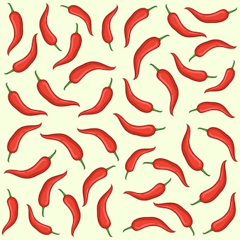 Red chili hand drawn vector seamless pattern, red chili seamless pattern design