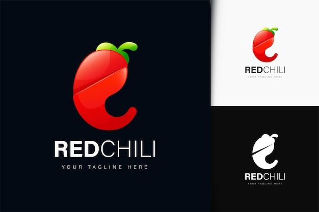 Красный перец чили дизайн логотипа с градиентом
