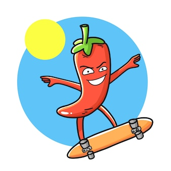 Red chili pepper funny cartoon character.