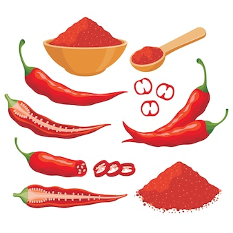 Red chili pepper vector set illustration