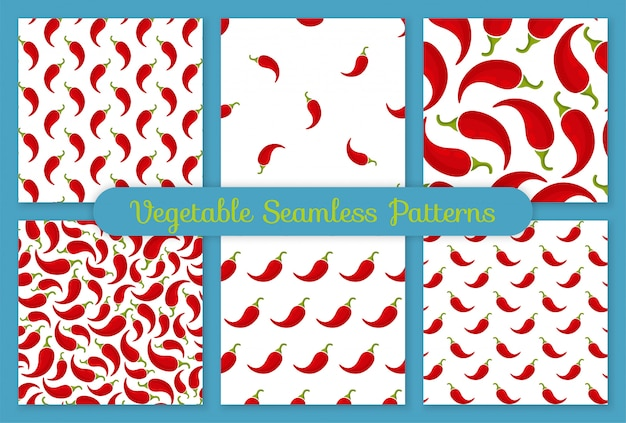 Red chili pepper vegetable seamless pattern set