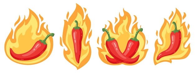 Red chili peppers in flames