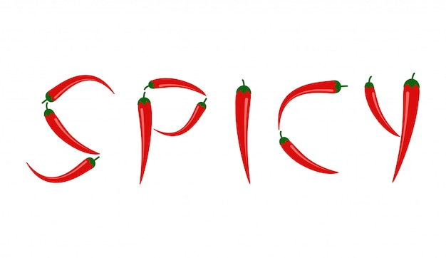 Red chili peppers in 'spicy' text