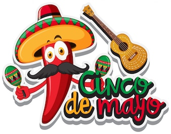 Red chili with mexican hat and maracas