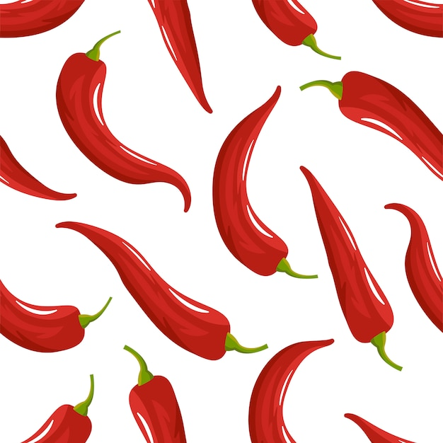 Red chilli pepper seamless pattern