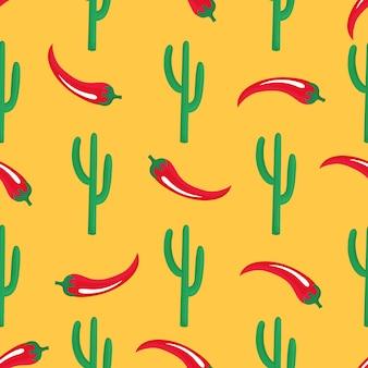 赤唐辛子の鞘とサボテン。メキシコのシームレスなパターン。壁紙、包装紙、パッキング、繊維として使用できます。