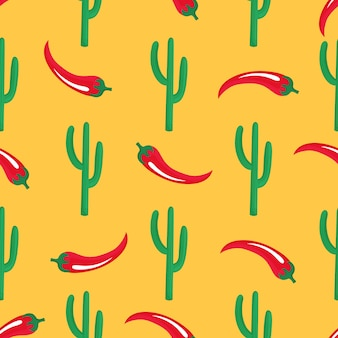 Red chilli pod and cactus. mexican seamless pattern. can be used as wallpaper, wrapping paper, packing, textiles.
