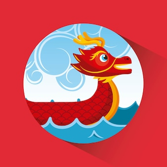 Red chineese dragon boat sea and clouds button shadow