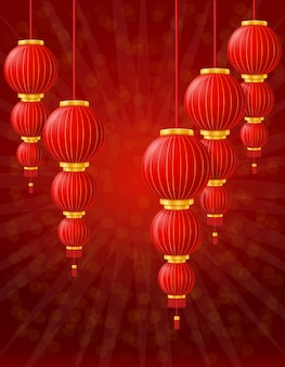 Red chinese lanterns for holiday and festival decoration for design on