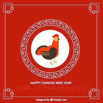 Красный китайский новый год фон с петухом в плоском дизайне