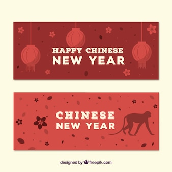 Red chinese new year banners pack
