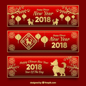 Red chinese new year banners