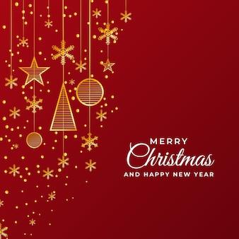 읽기 배경 및 크리스마스 장식품이 있는 빨간 크리스마스 및 새해 포스트 템플릿