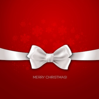 Red christmas background ribbon with white silk bow  illustration