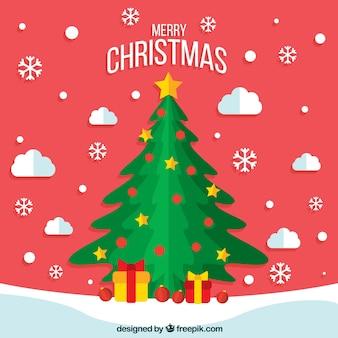 デコラティブなクリスマスツリーの赤いクリスマスの背景
