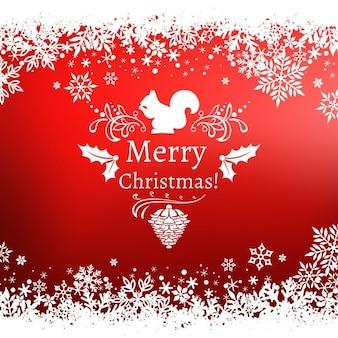 リスと赤のクリスマス背景