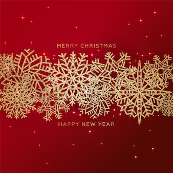 Red christmas background with border made of gold glittering confetti snowflakes