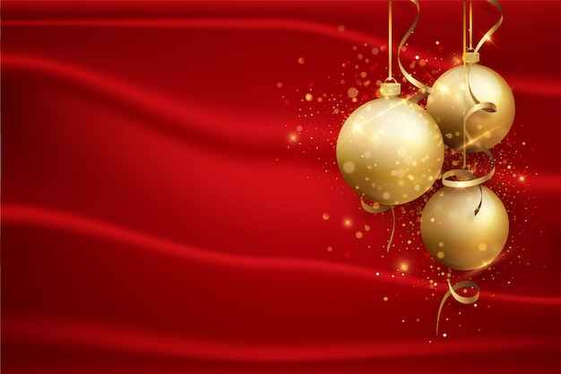 Red christmas background with gold balls. holiday background.