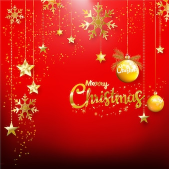 カード、バナーのための金色の光沢のある色とりどりの装飾品で赤いクリスマスの背景