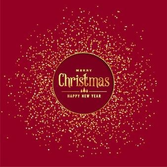 黄金の光沢のある赤いクリスマスの背景