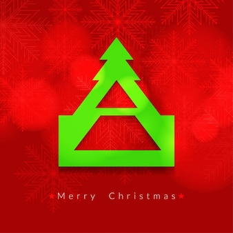 Red christmas background with green tree