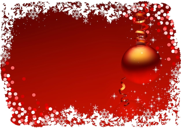 Red christmas background with hanging christmas ornament with confetti and bordered white snowflakes