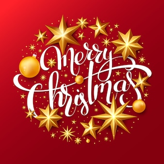 Red christmas background with lettering and gold foil stars