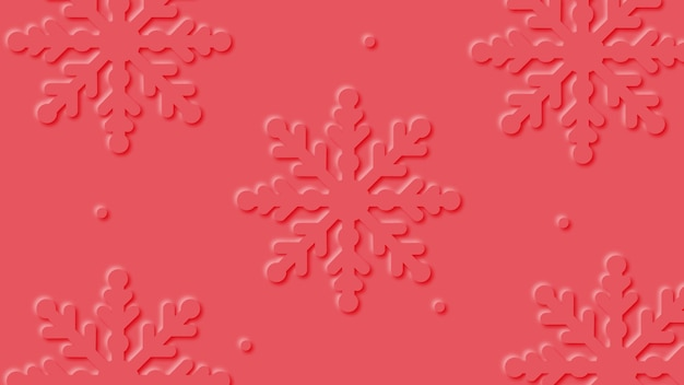 Red  christmas background with paper art snowflakes