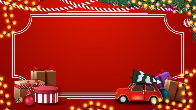 Red christmas background with presents, vintage frame, garland, branches and red vintage car carrying christmas tree