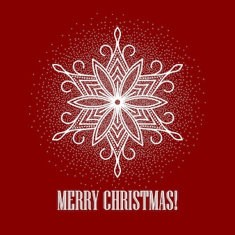 Red christmas background with snowflake, greeting card