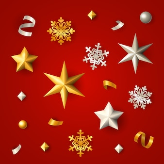 Red christmas background with stars, snowflakes and confetti